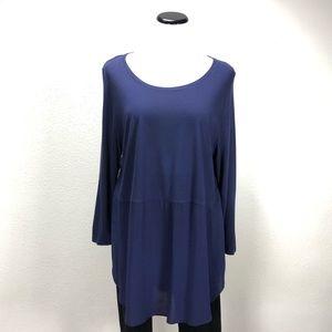 Two Purple 3/4 Sleeve Loose Fitting Tunic